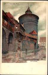Künstler Litho Mutter, K., Nürnberg Mittelfranken Bayern, Blick auf Spittlertor