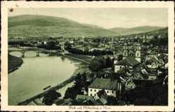Postcard Miltenberg in Unterfranken Bayern, Blick auf den Ort, Brücke, Fluss
