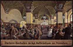 Künstler Ak München Bayern, Parterre Bierhalle im Kgl. Hofbräuhaus, J. Panzer