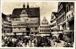 Postcard Tübingen am Neckar Baden Württemberg, Blick auf Marktplatz, Rathaus