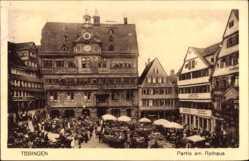 Postcard Tübingen am Neckar Baden Württemberg, Partie am Rathaus, Marktplatz