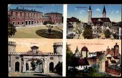Postcard Ingolstadt an der Donau Oberbayern, Bahnhof, Hauptwache, Donautor