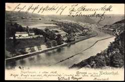 Postcard Ziegelhausen Heidelberg am Neckar, Panoramablick auf den Ort mit Flusspartie