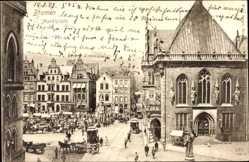 Postcard Hansestadt Bremen, Blick auf den Marktplatz mit Kirche