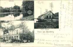 Postcard Horneburg im Kreis Stade, Kalkwiese, Elektrische Zentrale, Bahnhofs Hotel