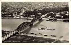 Postcard Düsseldorf am Rhein, Rheinansicht, Brücke, Dampfer, Fliegeraufnahme