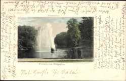 Passepartout Ak Düsseldorf am Rhein, Fontaine im Hofgarten, Flaneure