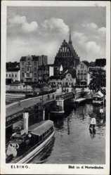 Ak Elbląg Elbing Ostpreußen, Blick zu der Marienkirche, Hafen, Brücke