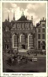 Ak Gdańsk Danzig, Artushof und Neptunbrunnen, Straßenhändler