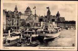 Ak Szczecin Stettin Pommern, Dampfschiffsbollwerk mit Hakenterrasse