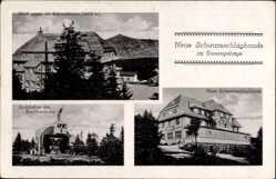 Ak Neue Schwarzschlagbaude, Riesengebirge, Schneekoppe, Drahtseilbahn