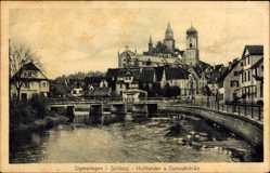 Postcard Sigmaringen an der Donau Baden Württemberg, Schloss, Hoftheater, Donaubrücke