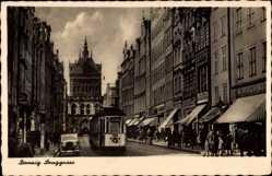 Ak Gdańsk Danzig, Langgasse, Straßenbahn, Geschäfte, Turm