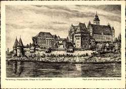 Künstler Ak Hoya, W., Malbork Marienburg Westpreußen, Erbaut im 13. Jh.