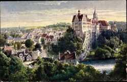 Künstler Ak Sigmaringen an der Donau Baden Württemberg, Teilansicht mit Schloss