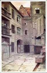 Künstler Ak Loeschmann, E., Wrocław Breslau Schlesien, Hof 1, Wirtschaftsräume