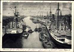 Postcard Hansestadt Bremen, Partie im Hafen II, Dampfschiffe an der Anlegestelle