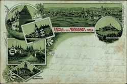 Litho Neustadt an der Orla, Leuchtenburg, Rathaus, Schloss Hummelshain