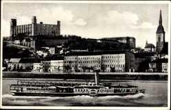Postcard Poszony Pressburg Bratislava Slowakei, Flussdampfer, Burg, Kirchturm