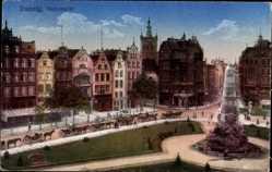 Ak Gdańsk Danzig, Holzmarkt, Fontäne, Pferdekutschen, Gebäude