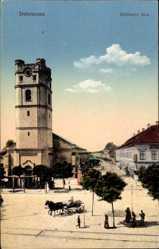 Postcard Debrecen Debrezin Ungarn, Szechenyi utca, Straßenpartie, Kirchturm