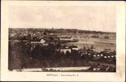 Postcard Setúbal Portugal, Panorama der Stadt mit Hafen