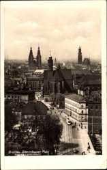 Ak Breslau Schlesien, Blick auf den Dominikaner Platz, Straßenbahn, Passanten