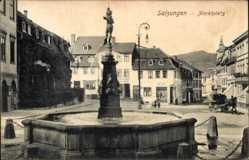 Postcard Bad Salzungen im Wartburgkreis, Marktplatz, Brunnen