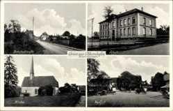 Postcard Obbornhofen Hungen Kreis Gießen, Bahnhofstraße, Schule, Hofgut, Kirche