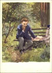 Künstler Ak H. H. Zhukov, Lenin denkt an Bruder Alexander