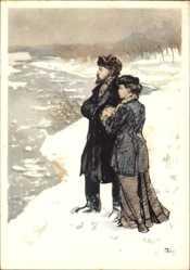 Künstler Ak H. H. Zhukov, Lenin und eine Frau, Winter, Fluss