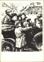 Künstler Ak H. H. Zhukov, Lenin in einem Auto mit offenem Verdeck, Kinder