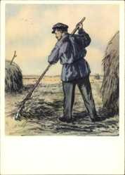Künstler Ak H. H. Zhukov, Lenin bei der Feldarbeit, Heuberge