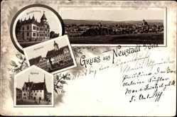 Vorläufer Litho 1891 Neustadt an der Orla, Marktplatz, Rathaus, Bezirksdirektion