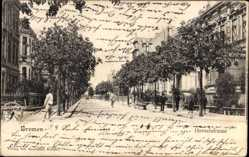 Postcard Hansestadt Bremen, Blick entlang der Hornerstraße, Radfahrer