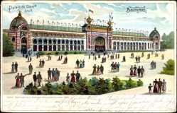 Lithographie Paris, Weltausstellung 1900, Baukunst, Palais du Genie civil