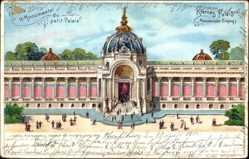 Lithographie Paris, Weltausstellung 1900, Kleines Palais, Monumentaler Eingang