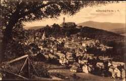 Postcard Königstein im Taunus Hessen, Totalansicht der Ortschaft, Burg