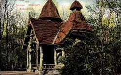 Postcard Hansestadt Bremen, Partie im Bürgerpark, Blick auf die Borkenhütte
