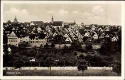 Postcard Marbach Neckar, Panorama der Stadt, Kirchtürme, Häuser
