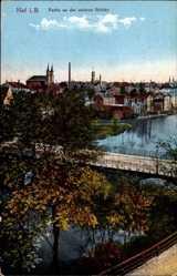 Postcard Hof an der Saale Oberfranken Bayern, Partie an der unteren Brücke