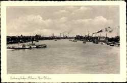 Postcard Ludwigshafen Rhein, Hafenpartie, Salondampfer auf dem Rhein
