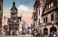 Postcard Worms in Rheinland Pfalz, Blick in die Kämmererstraße, Eisenhandlung