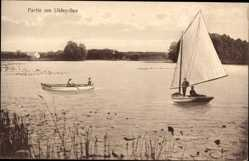 Postcard Eutin in Ostholstein, Partie am Ukley See, Segelboot, Ruderer