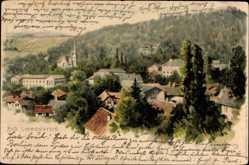 Litho Bad Liebenstein im Wartburgkreis, Totalansicht vom Ort, Kirche