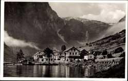 Postcard Gudvangen Sognefjord Norwegen, Siedlung am Wasser, Hotel Viking
