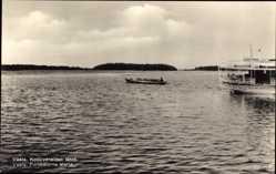 Postcard Vaala Finnland, Koskiveneiden lähtö, Forbatarna starta, Ruderboot