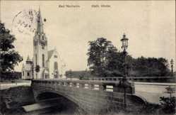 Postcard Bad Nauheim im Wetteraukreis Hessen, Brücke mit katholischer Kirche