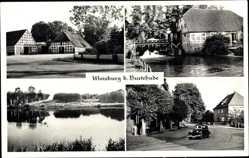 Postcard Moisburg in Niedersachen, Teich, Fachwerkhäuser, Fluss