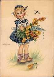 Künstler Ak Lupicina, Mädchen in blauem Kleid mit Holzschuhen und Blumenstrauß